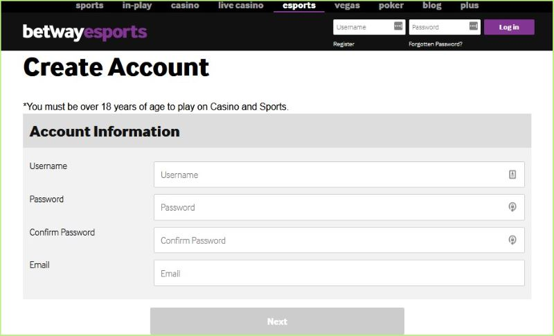register new account at betway esports betting